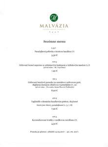 Sezónne menu reštaurácia Malvázia